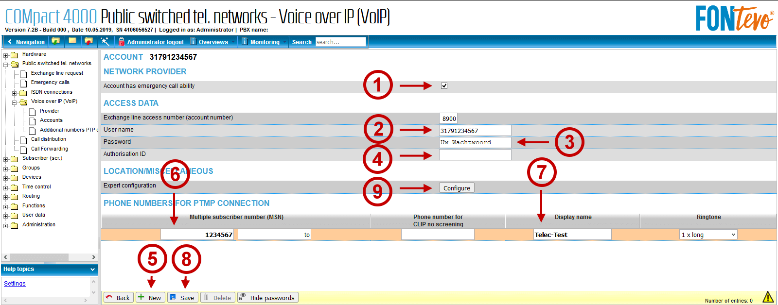 FONtevo en EnterpriseVoIP VoIP account aanmaken 2 van 2