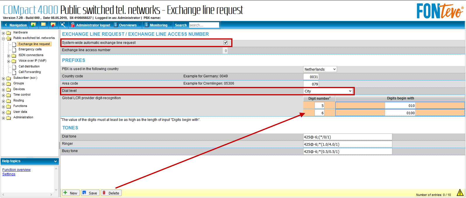 FONtevo en EnterpriseVoIP Exchange line request